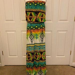 NWT Bandeau Maxi Tribal Dress M